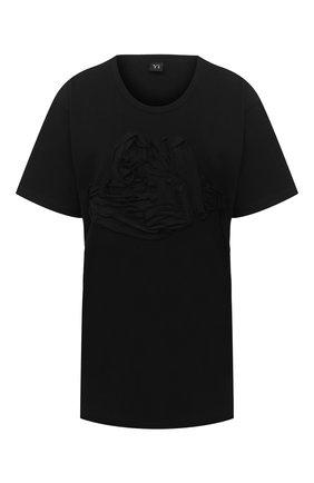 Женская хлопковая футболка Y`S черного цвета, арт. YB-T09-673 | Фото 1