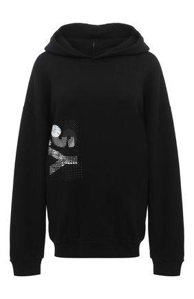 Женский хлопковое худи Y`S черного цвета, арт. YB-T05-671 | Фото 1