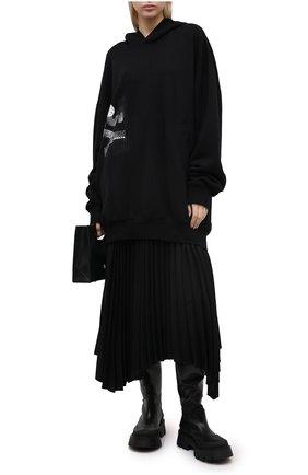 Женский хлопковое худи Y`S черного цвета, арт. YB-T05-671 | Фото 2