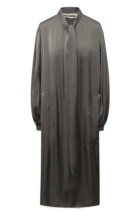 Женское платье UMA WANG серого цвета, арт. A0 W UW5016 | Фото 1 (Длина Ж (юбки, платья, шорты): Миди; Рукава: Длинные; Женское Кросс-КТ: Платье-одежда; Случай: Повседневный; Стили: Кэжуэл; Материал внешний: Купро)