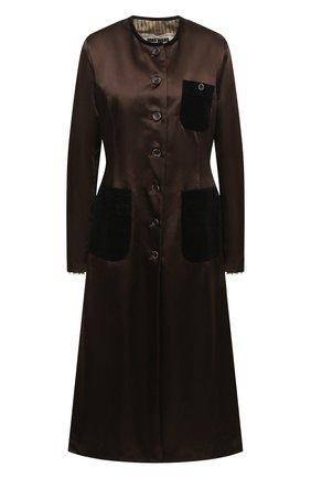 Женское пальто UMA WANG коричневого цвета, арт. A0 W UW8031 | Фото 1 (Материал подклада: Хлопок; Материал внешний: Синтетический материал, Хлопок; Рукава: Длинные; Стили: Кэжуэл; 1-2-бортные: Однобортные; Длина (верхняя одежда): Длинные)