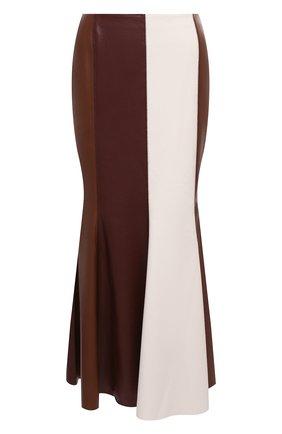 Женская юбка NANUSHKA коричневого цвета, арт. ARTEM_BR0WN PATCH_VEGAN LEATHER | Фото 1