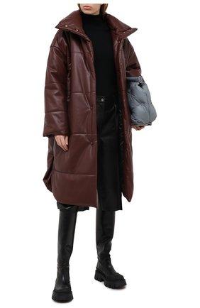 Женское пальто NANUSHKA коричневого цвета, арт. ESKA_PLUM CHUTNEY_VEGAN LEATHER | Фото 2