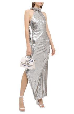 Женское платье с пайетками OFF-WHITE серебряного цвета, арт. 0WDB268F20FAB0010900 | Фото 2