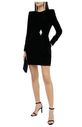 Женские кожаные босоножки bea SAINT LAURENT черного цвета, арт. 639606/C2000   Фото 2