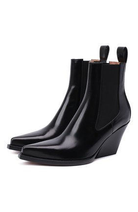 Женские кожаные ботильоны bv lean  BOTTEGA VENETA черного цвета, арт. 639826/V01M0 | Фото 1