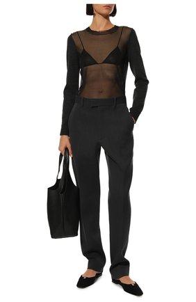 Женские шерстяные брюки BOTTEGA VENETA темно-серого цвета, арт. 629560/VKIV0 | Фото 2