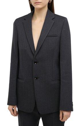 Женский шерстяной жакет BOTTEGA VENETA темно-серого цвета, арт. 628721/VKIV0 | Фото 3