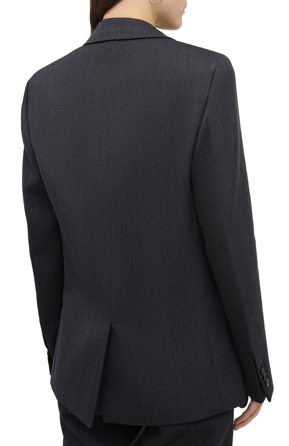 Женский шерстяной жакет BOTTEGA VENETA темно-серого цвета, арт. 628721/VKIV0 | Фото 4