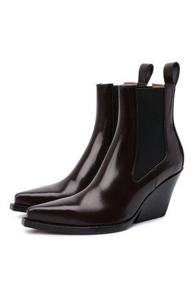 Женские кожаные ботильоны bv lean  BOTTEGA VENETA темно-коричневого цвета, арт. 639826/V01M0 | Фото 1 (Материал внутренний: Натуральная кожа; Каблук высота: Средний; Подошва: Плоская; Каблук тип: Устойчивый)