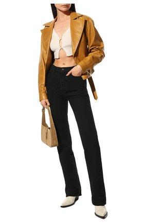 Женские кожаные ботильоны bv lean  BOTTEGA VENETA кремвого цвета, арт. 639826/V01M0 | Фото 2