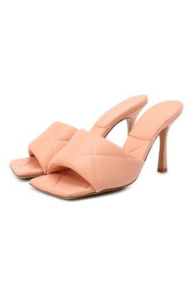 Женские кожаные мюли bv rubber lido BOTTEGA VENETA персикового цвета, арт. 639943/VBP30 | Фото 1