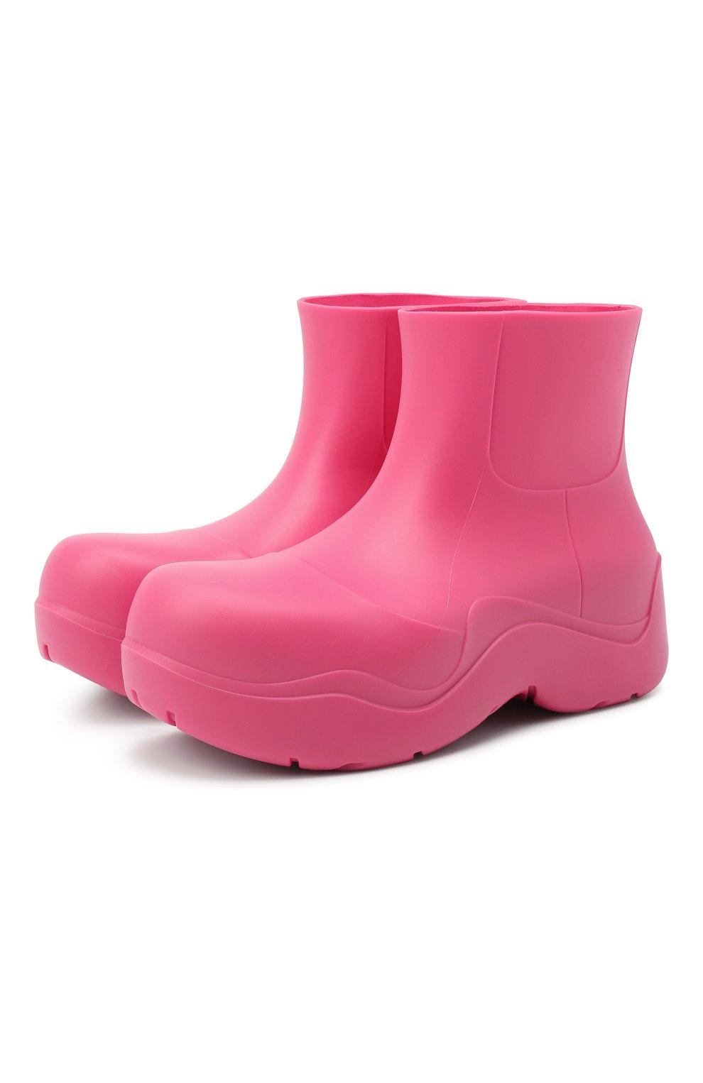 Женские сапоги bv puddle BOTTEGA VENETA розового цвета, арт. 640045/V00P0 | Фото 1 (Подошва: Платформа; Женское Кросс-КТ: Без шнуровки-ботинки; Материал внутренний: Натуральная кожа, Текстиль; Высота голенища: Низкие; Каблук высота: Средний; Каблук тип: Устойчивый; Материал внешний: Резина)