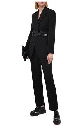 Женская кожаные дерби ALEXANDER MCQUEEN черного цвета, арт. 633926/WHX59   Фото 2