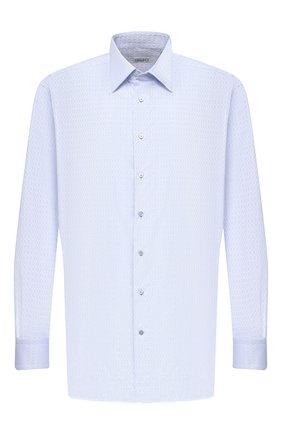 Мужская хлопковая сорочка ZILLI голубого цвета, арт. MFU-00401-01044/0001/45-49 | Фото 1 (Материал внешний: Хлопок; Рукава: Длинные; Длина (для топов): Стандартные; Случай: Формальный; Рубашки М: Regular Fit; Big sizes: Big Sizes; Стили: Классический; Воротник: Кент)
