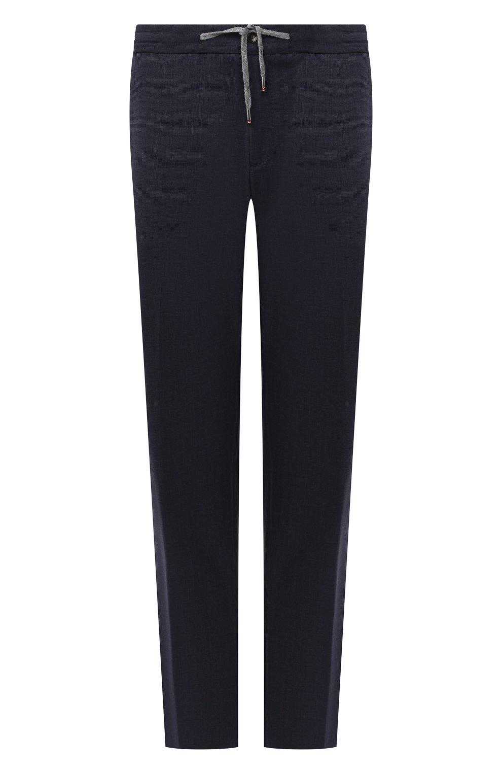 Мужские шерстяные брюки MARCO PESCAROLO темно-синего цвета, арт. CARACCI0L0/4231   Фото 1 (Big sizes: Big Sizes; Материал внешний: Шерсть; Длина (брюки, джинсы): Стандартные; Случай: Повседневный; Стили: Кэжуэл)