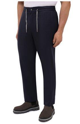 Мужские шерстяные брюки MARCO PESCAROLO темно-синего цвета, арт. CARACCI0L0/4231   Фото 3 (Big sizes: Big Sizes; Материал внешний: Шерсть; Длина (брюки, джинсы): Стандартные; Случай: Повседневный; Стили: Кэжуэл)