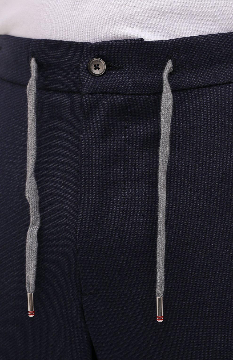 Мужские шерстяные брюки MARCO PESCAROLO темно-синего цвета, арт. CARACCI0L0/4231   Фото 5 (Big sizes: Big Sizes; Материал внешний: Шерсть; Длина (брюки, джинсы): Стандартные; Случай: Повседневный; Стили: Кэжуэл)