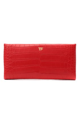 Женский клатч из кожи аллигатора TOM FORD красного цвета, арт. L1373T-EAL001/AMIS   Фото 1 (Размер: medium; Женское Кросс-КТ: Клатч-клатчи, Вечерняя сумка)