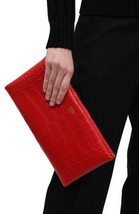 Женский клатч из кожи аллигатора TOM FORD красного цвета, арт. L1373T-EAL001/AMIS   Фото 2 (Размер: medium; Женское Кросс-КТ: Клатч-клатчи, Вечерняя сумка)