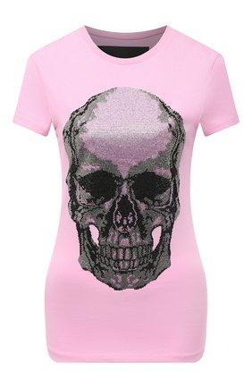 Женская хлопковая футболка PHILIPP PLEIN розового цвета, арт. F20C WTK2057 PJY002N | Фото 1