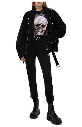 Женская хлопковая футболка PHILIPP PLEIN черного цвета, арт. F20C WTK2102 PJY002N | Фото 2