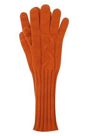 Женские кашемировые перчатки LORO PIANA оранжевого цвета, арт. FAI8570 | Фото 1 (Материал: Шерсть, Кашемир)