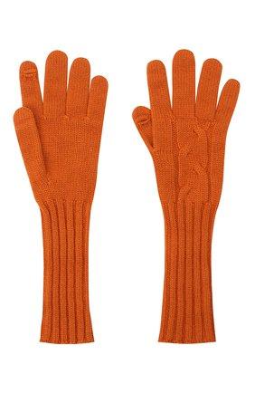 Женские кашемировые перчатки LORO PIANA оранжевого цвета, арт. FAI8570 | Фото 2 (Материал: Шерсть, Кашемир)
