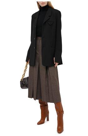 Женские кожаные ботфорты caroline DOLCE & GABBANA коричневого цвета, арт. CU0662/AW694   Фото 2