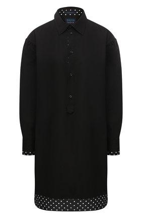 Женская хлопковая рубашка YOHJI YAMAMOTO черного цвета, арт. FB-B54-001   Фото 1