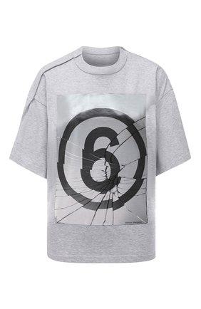 Женская хлопковая футболка MM6 серого цвета, арт. S32GC0582/S23588 | Фото 1