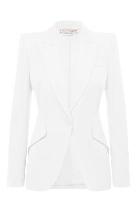 Женский шерстяной жакет ALEXANDER MCQUEEN белого цвета, арт. 585442/QJAAC   Фото 1