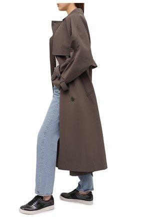 Женские кожаные кеды TOM FORD темно-серого цвета, арт. W2817N-LG0019 | Фото 2