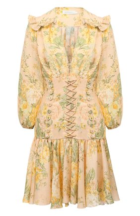 Женское льняное платье ZIMMERMANN бежевого цвета, арт. 8665DAME | Фото 1