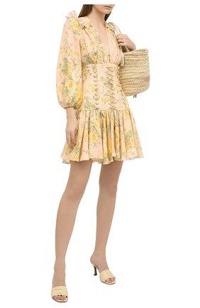 Женское льняное платье ZIMMERMANN бежевого цвета, арт. 8665DAME | Фото 2