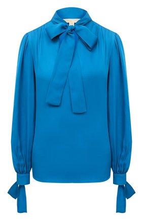 Женская шелковая блузка MICHAEL MICHAEL KORS тёмно-голубого цвета, арт. MF04M6NB06 | Фото 1