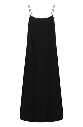 Женское шелковое платье THE ROW черного цвета, арт. 5256W1099 | Фото 1 (Длина Ж (юбки, платья, шорты): Миди; Материал внешний: Шелк; Женское Кросс-КТ: Платье-одежда; Рукава: Без рукавов, Короткие; Случай: Повседневный; Стили: Кэжуэл)