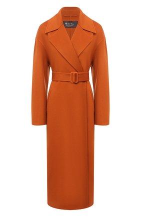 Женское кашемировое пальто LORO PIANA оранжевого цвета, арт. FAL3652   Фото 1 (Материал внешний: Шерсть, Кашемир; Стили: Кэжуэл; 1-2-бортные: Однобортные; Рукава: Длинные; Длина (верхняя одежда): Длинные)