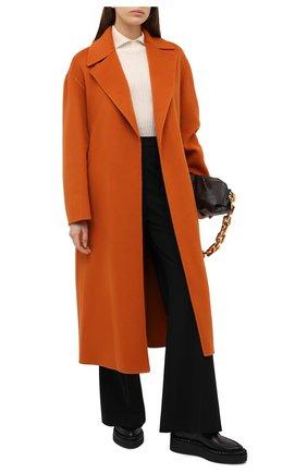 Женское кашемировое пальто LORO PIANA оранжевого цвета, арт. FAL3652   Фото 2 (Материал внешний: Шерсть, Кашемир; Стили: Кэжуэл; 1-2-бортные: Однобортные; Рукава: Длинные; Длина (верхняя одежда): Длинные)