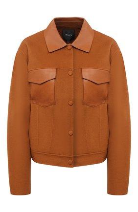 Женская куртка из шерсти и кашемира THEORY коричневого цвета, арт. K0701407 | Фото 1