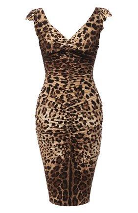 Женское шелковое платье DOLCE & GABBANA леопардового цвета, арт. J6137T/FSADD | Фото 1