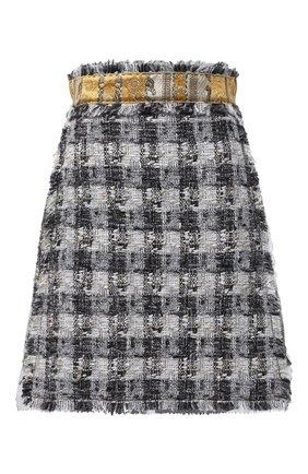 Женская твидовая юбка DOLCE & GABBANA серого цвета, арт. J4027T/FQMHE | Фото 1
