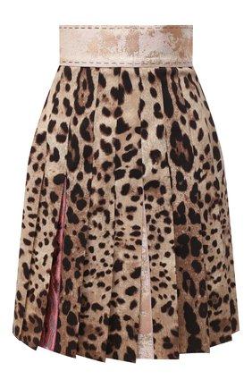 Женская юбка в складку DOLCE & GABBANA леопардового цвета, арт. J4017Z/FSBAV | Фото 1