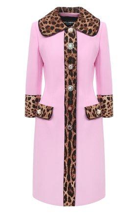 Женское пальто из шерсти и хлопка DOLCE & GABBANA розового цвета, арт. J0AABZ/FU2TZ | Фото 1
