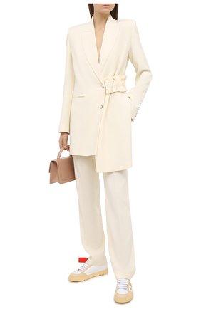 Женские брюки из вискозы и шерсти OFF-WHITE кремвого цвета, арт. 0WCA115F20FAB0066100   Фото 2