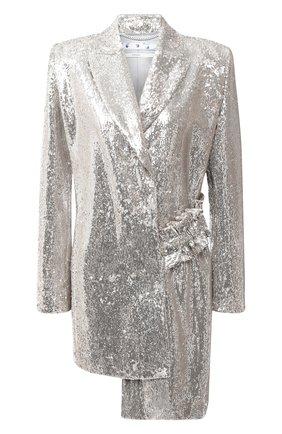 Женский жакет с пайетками OFF-WHITE серебряного цвета, арт. 0WEF057F20FAB0040900 | Фото 1