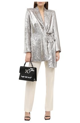 Женский жакет с пайетками OFF-WHITE серебряного цвета, арт. 0WEF057F20FAB0040900 | Фото 2