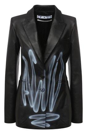Женский кожаный жакет OFF-WHITE черного цвета, арт. 0WJA042F20LEA0011001 | Фото 1