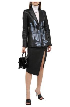 Женский кожаный жакет OFF-WHITE черного цвета, арт. 0WJA042F20LEA0011001 | Фото 2