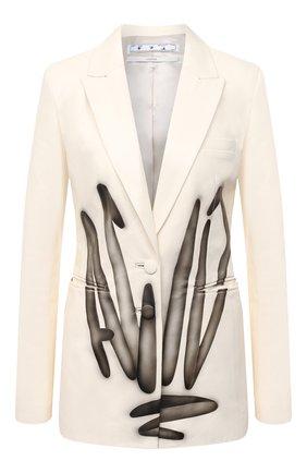 Женский кожаный жакет OFF-WHITE кремвого цвета, арт. 0WJA042F20LEA0016110 | Фото 1
